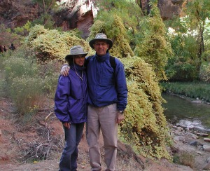 Kristin and me during one of our many hikes. This was taken in Zion National Park.